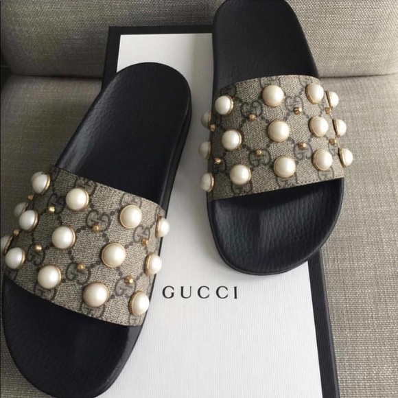 d93fd0539 Gucci Shoes | Gg Supreme Slide With Pearls Sz 38 Us 8 | Poshmark